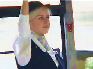 Nasty Sex-hungry Stewardess Makes Every Male On Board Horny