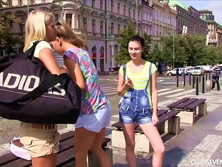 Adventurous Lesbian Teen Pussy Licking Outdoors In A Spicy Threesome